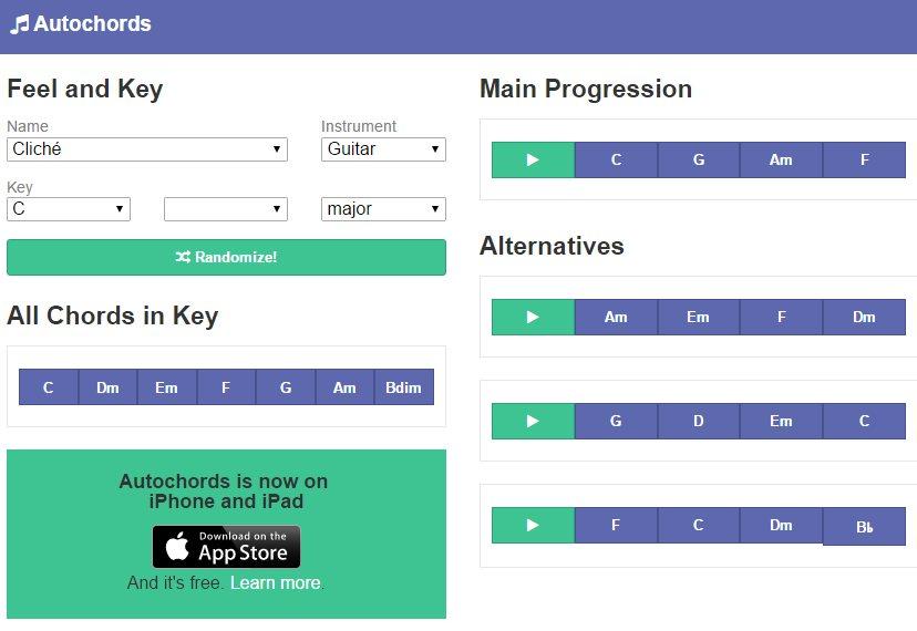 Le site autochords qui permet d'écouter les accord
