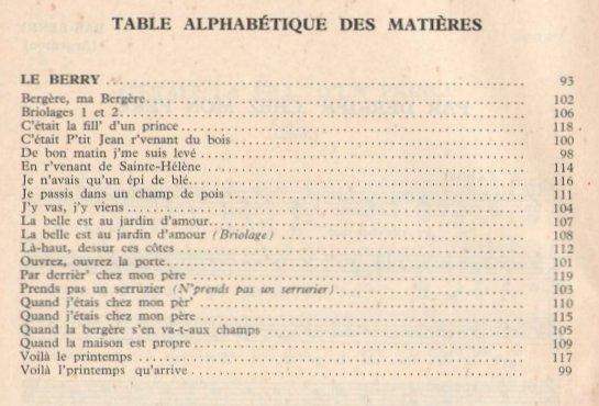 Afficher l'image de la table des matières : Joseph Canteloube - Anthologie des chants populaires français - Berry