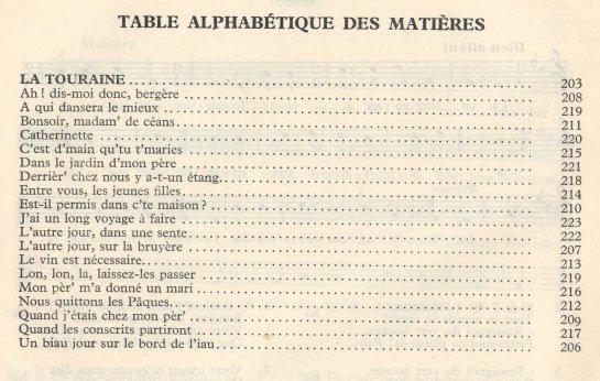 Afficher l'image de la table des matières : Joseph Canteloube - Anthologie des chants populaires français - Touraine