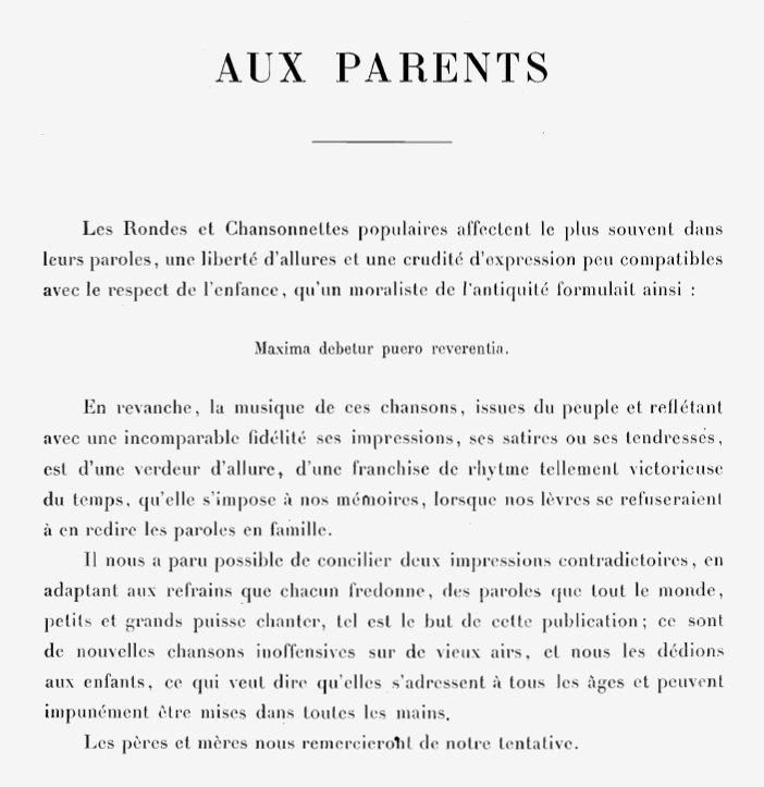 Rondes et chansonnettes enfantines - Aux parents