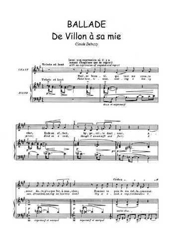 Ballade de Villon à sa mie Partition gratuite