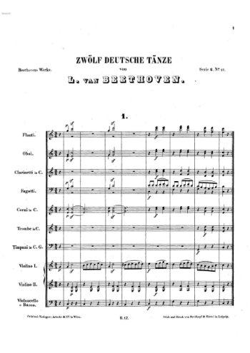 Douze danses allemandes pour orchestre Partition gratuite