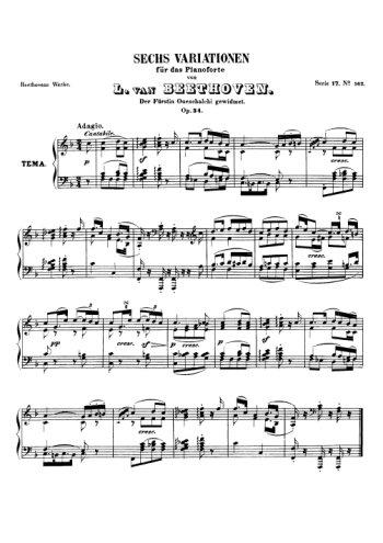 Thème et six variations Partition gratuite