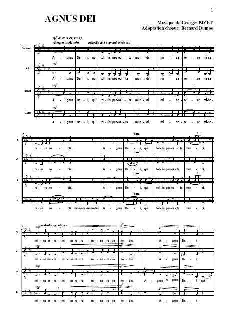 Agnus Dei de Bizet Partition gratuite