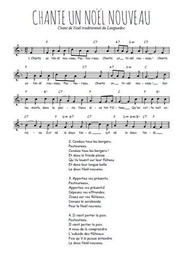 Chante un Noël nouveau Partition gratuite