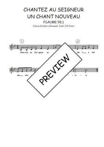 Le canon Chantez au Seigneur un chant nouveau