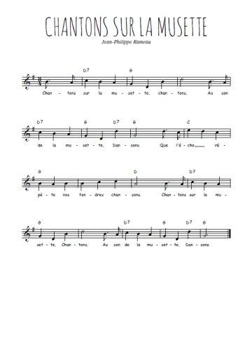 Chantons sur la musette Partition gratuite