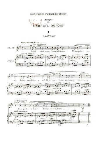 Deux poèmes d'Alfred de Musset Partition gratuite