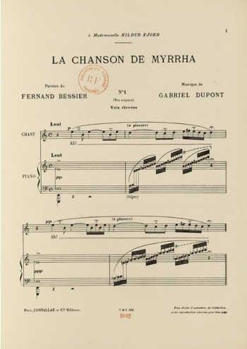 La chanson de Myrrha Partition gratuite