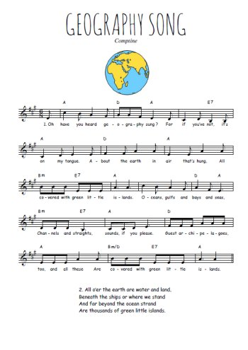 Geography song Partition gratuite