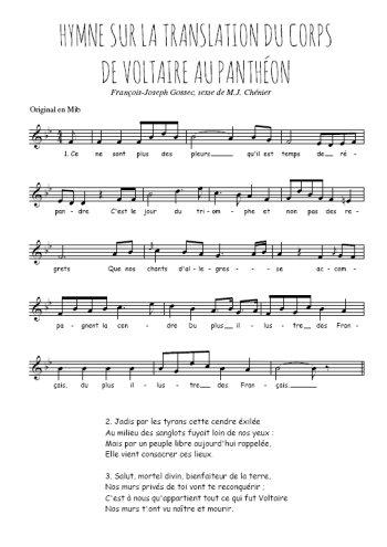 Hymne sur la translation du corps de Voltaire au Panthéon Partition gratuite