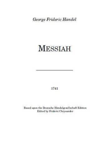 Le Messie. Messiah Partition gratuite