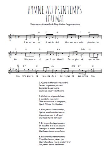 Hymne au printemps Partition gratuite