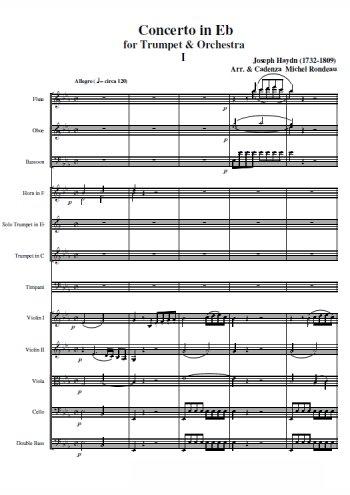 Concerto pour trompette en mib Partition gratuite