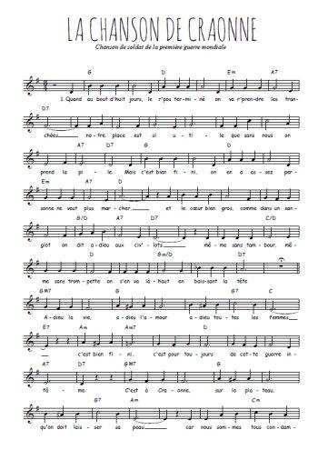 La chanson de Craonne Partition gratuite