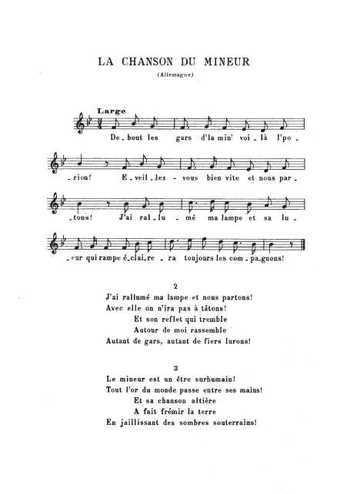 La chanson du mineur Partition gratuite