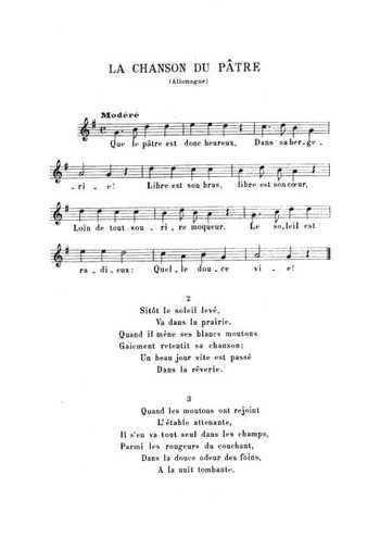 La chanson du pâtre Partition gratuite