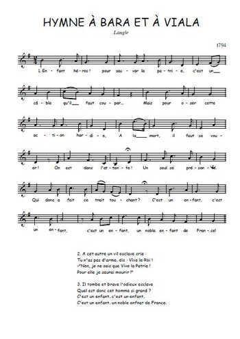 Hymne à Bara et à Viala Partition gratuite