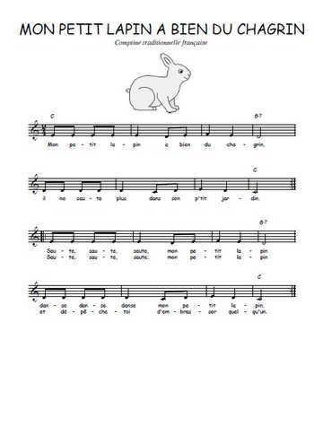 Mon petit lapin a bien du chagrin (3) Partition gratuite
