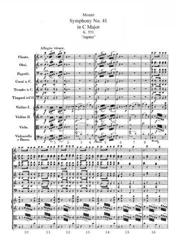 Symphonie N°41, Jupiter Partition gratuite
