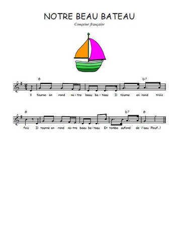 Notre beau bateau Partition gratuite