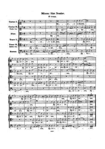 Missa Sine nomine a 6 Partition gratuite
