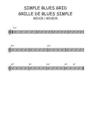 Simple grid blues - Grille de blues (minor-mineur) Partition gratuite