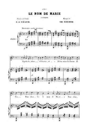 Six cantiques N°2 - Le nom de Marie Partition gratuite