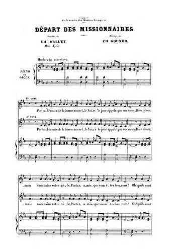 Six cantiques N°4 - Le départ des missionnaires Partition gratuite