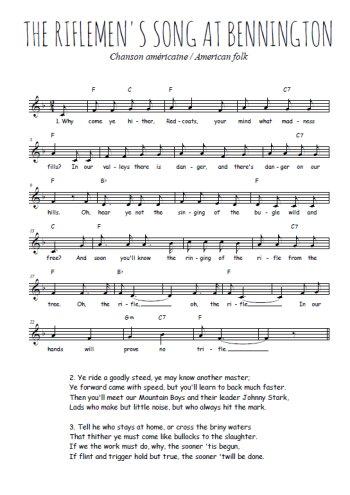 The Riflemen's song at Bennington Partition gratuite