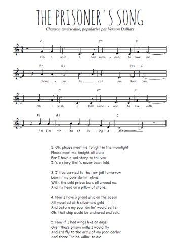 The prisoner's song Partition gratuite