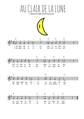 Au clair de la Lune Partition gratuite