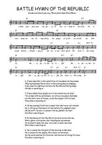 Battle hymn of the republic Partition gratuite