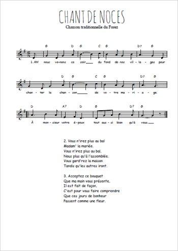 Chant de noces Partition gratuite