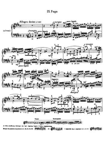 Clavier bien tempéré, prélude et fugue N°9 en Mi Partitions gratuites