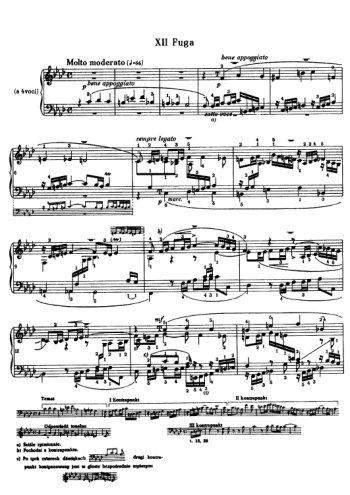 Clavier bien tempéré, prélude et fugue N°13 en Fad Partitions gratuites