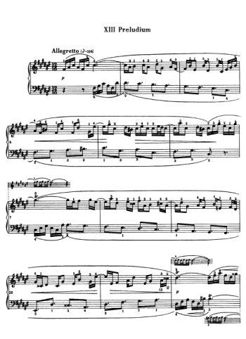 Clavier bien tempéré, prélude et fugue N°13 en Fad Partition gratuite