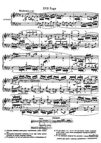 Clavier bien tempéré, prélude et fugue N°17 en lab Partitions gratuites