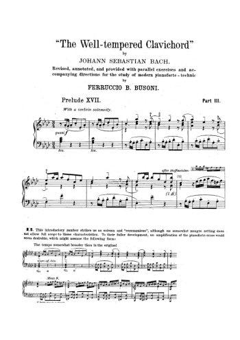 Clavier bien tempéré, prélude et fugue N°17 en lab Partition gratuite
