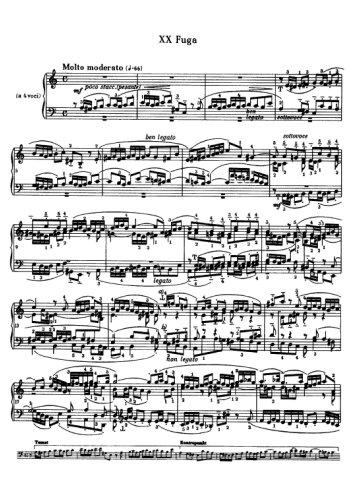 Clavier bien tempéré, prélude et fugue N°20 en la mineur Partitions gratuites