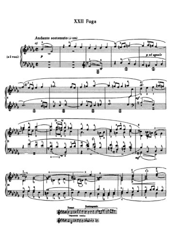 Clavier bien tempéré, prélude et fugue N°22 en sib mineur Partitions gratuites