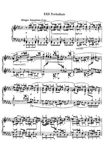 Clavier bien tempéré, prélude et fugue N°22 en sib mineur Partition gratuite