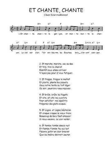 Et chante, chante Partition gratuite