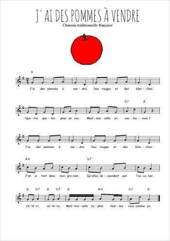 J'ai des pommes à vendre Partition gratuite