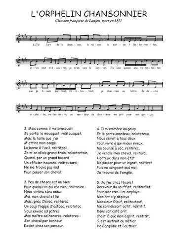 L'orphelin chansonnier Partition gratuite