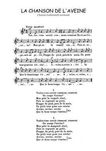 La chanson de L'aveine Partition gratuite