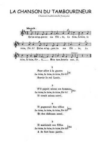 La chanson du tambourineur Partition gratuite