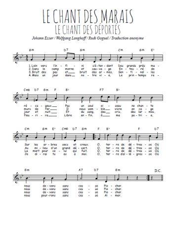 Le chant des marais Partition gratuite
