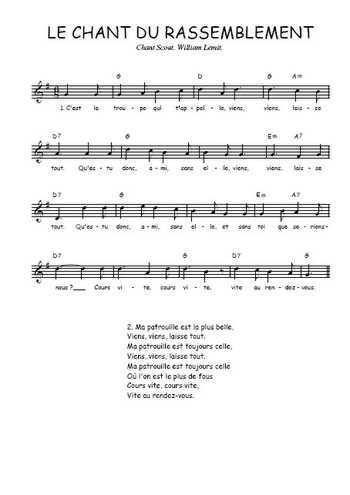 Le chant du rassemblement Partition gratuite