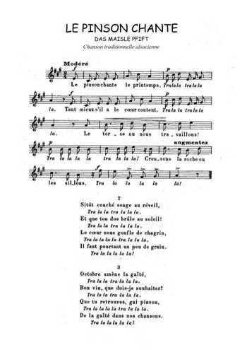 Le pinson chante Partition gratuite
